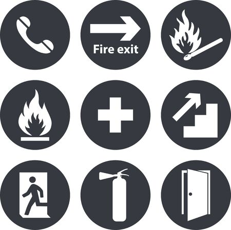 Phone, emergency,cross icons. Fire extinguisher and exit signs. Imagens - 148847639