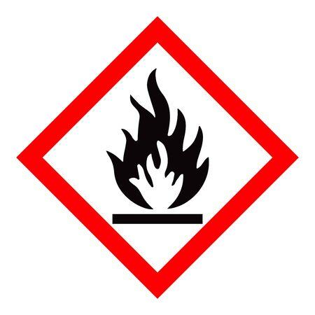 Standard Pictogam of Flammable Symbol, Warning sign of Globally Harmonized System (GHS) Ilustração