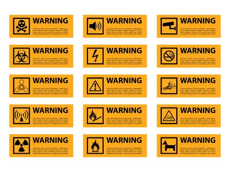 warning vector sign, fire, high voltage, toxic, temperature Illustration