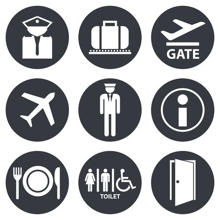 Standard set of airport signs and symbols
