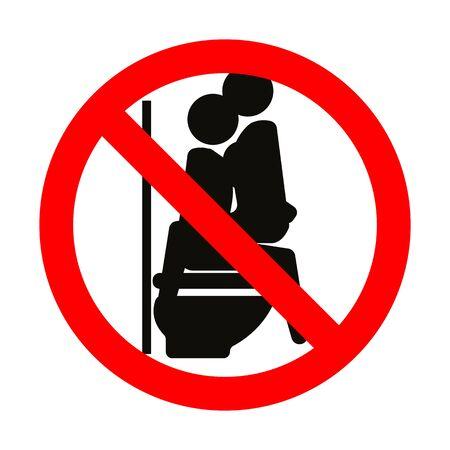 No sex sign symbol on flush toilet
