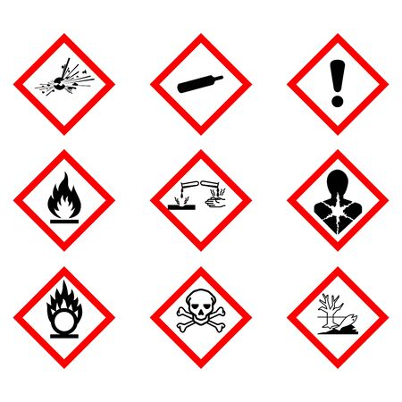 Flame, Exclamation Mark, Health Hazard, Skull & Crossbones, Exploding Bomb, Flame Over Circle, Corrosion, Gas Cylinder, Environment, symbol collections,Warning sign of Globally Harmonized System (GHS) vector ESP10
