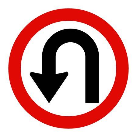 U-Turn Sign Ilustração