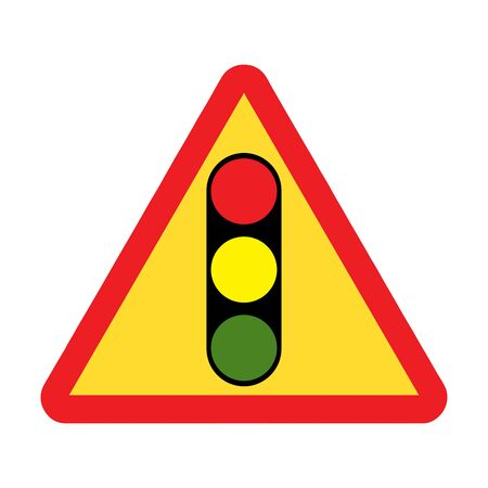 Traffic lights ahead road sign Illustration