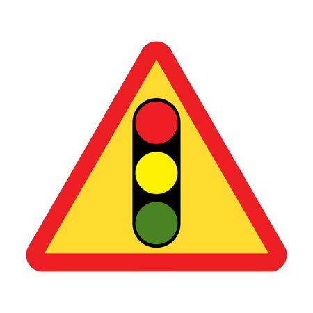 Traffic lights ahead road sign Ilustração
