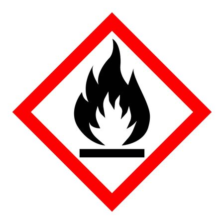 Standard Pictogam of Flammable Symbol, Warning sign of Globally Harmonized System (GHS) Illustration