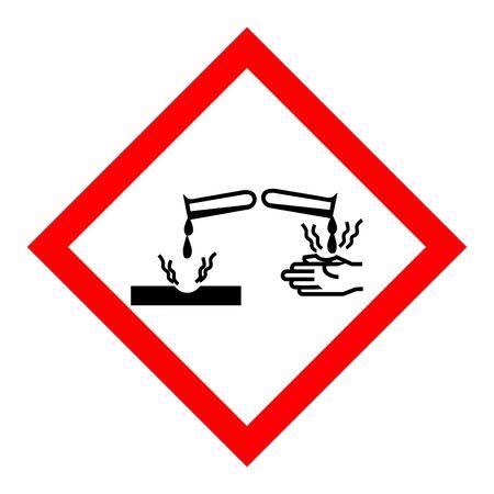 Standard Pictogam of Corrosive Symbol, Warning sign of Globally Harmonized System (GHS) Ilustração