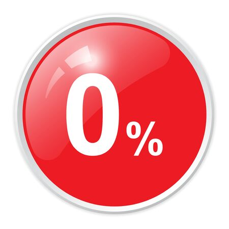 0 percent red glossy round button vector icon