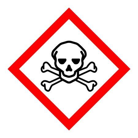 Standard Pictogam of Toxic Skull & Crossbones Hazard Symbol, Warning sign of Globally Harmonized System (GHS)