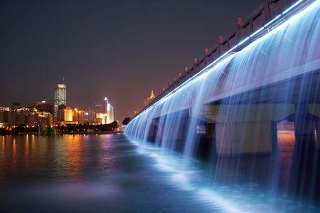 splendid: splendid bridge with colorful waterfall, China