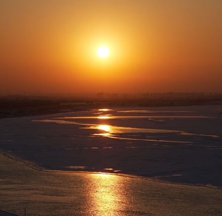 beautiful sunset in the winter season photo