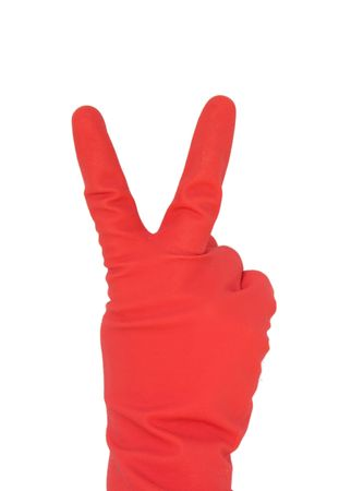 wearing red gloves, human hand showing a peace or victory symbol