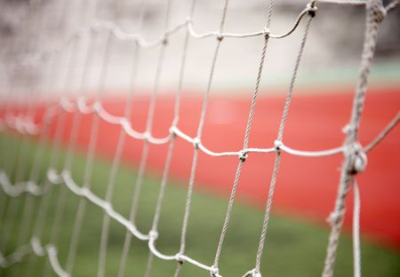 Close-up of sports goal net, focus on net. Stock Photo