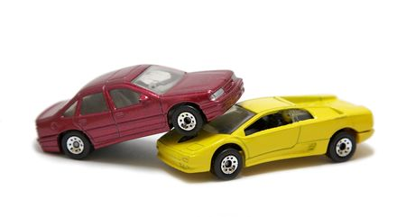 collision: auto accident of two toy cars