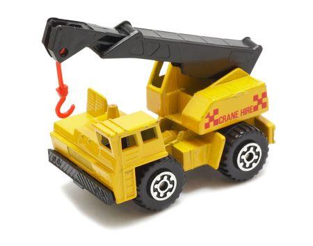motor de carro: Amarillo cami�n con gr�a de juguete