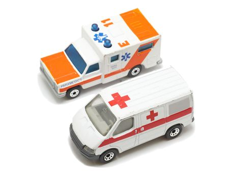 infirmary: Two type of emergency ambulance cars ,isolated on white background. Stock Photo