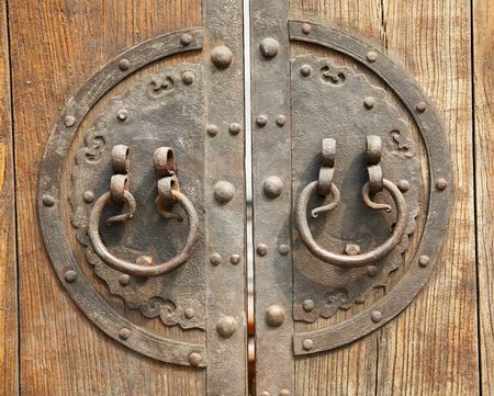 Old Chinese brown door with metal ring photo