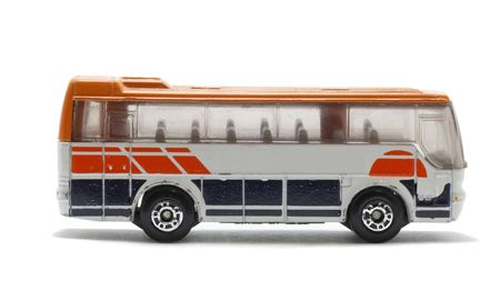 Toy bus. Isolated on white. Stock Photo
