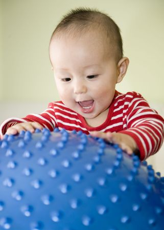 baby playing a big toy ball Stock Photo - 4644877