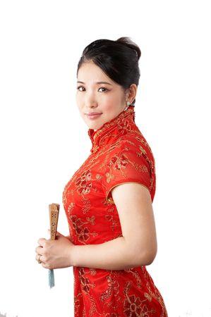 asian woman wearing traditional chinese dress. photo