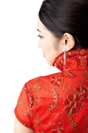 beautiful asian woman, isolated on white background. photo