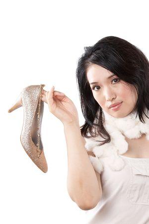 woman and high heel shoe photo
