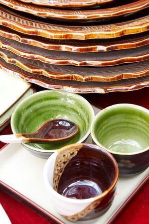 dinnerware: Many traditional dinnerware on displaying