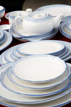 dinnerware displaying for sale Stock Photo - 4721088
