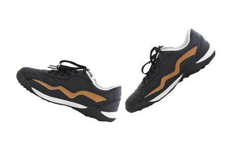 Black running shoes against white background. photo