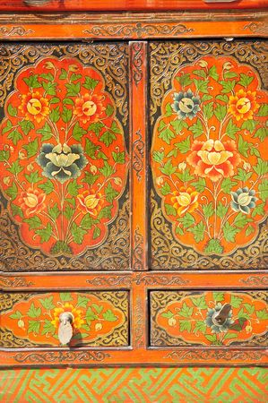 antique asian: the door of old Chinese furniture.