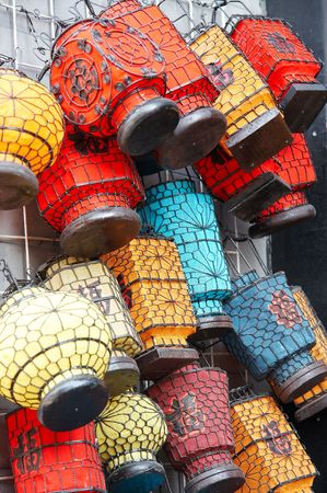 Colorful lantern on market stall,Beijing,China