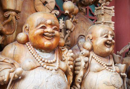 beijing: Wooden buddha statue,Beijing China