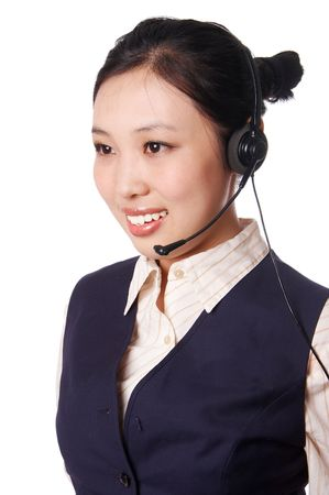 young asian call center operator. photo