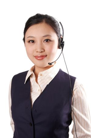 telephonist: portrait of asian young business woman