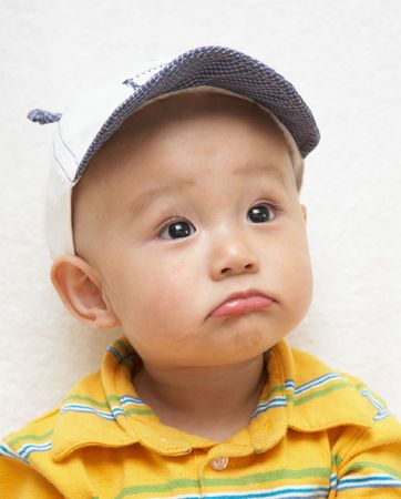 cute baby in a hat Stock Photo