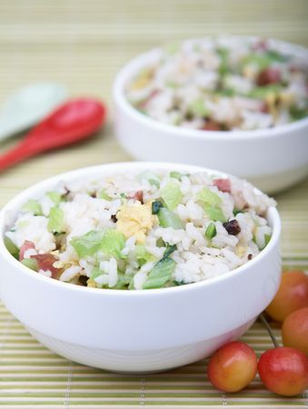 arroz chino: Saludable plato de arroz