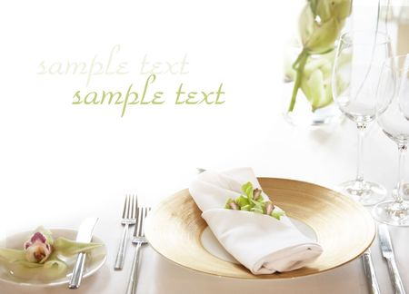wedding table: elegant table setting, copy space for text.