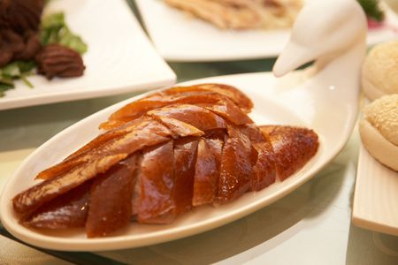 duck: Peking roasted duck on plate for serve