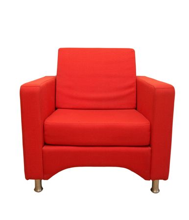red sofa: sofa, isolated on white