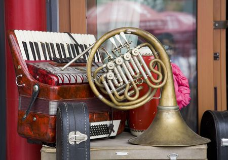 french horn: Old-fashioned musical instrument