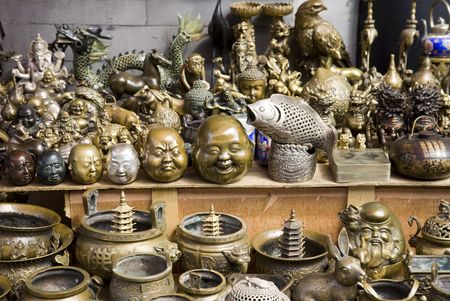Brass Bric-a-brac market stall photo