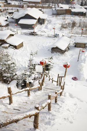 snowy village photo