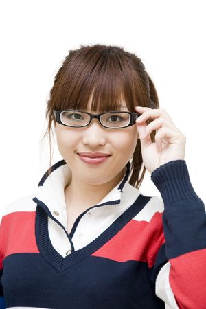 ponytail: asian girl with glasses smiling, on white background