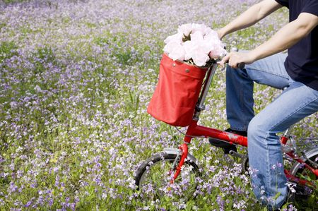 bicycle trip with flowers in the front basket Stock Photo - 7156317