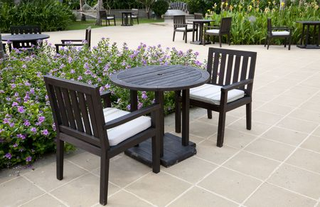 patio with table and chairs photo