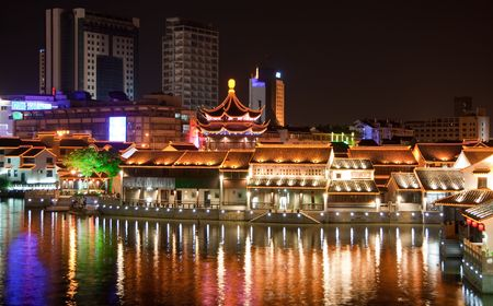 Traditional ancient town at night, suzhou, china.
