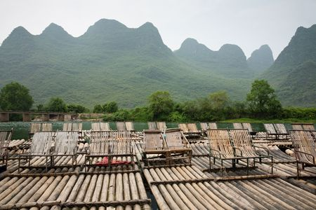 Bamboo rafts on Li river, Guilin, China photo