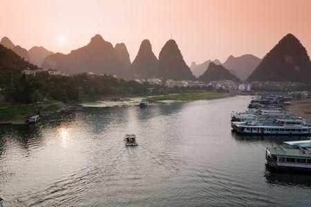 guilin: Li river sunset, Guilin, China