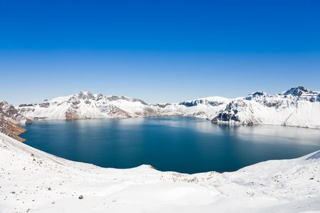 crater Lake, on the top of Changbai Mountain, located in Jilin province,  the north east of China.  免版税图像