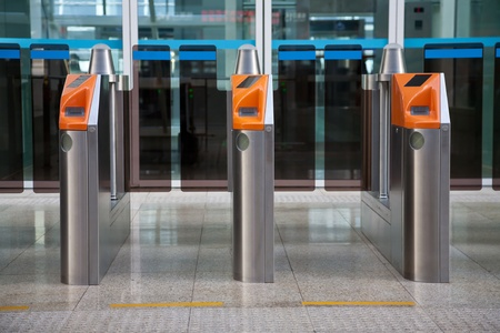 self control: Ticket Gate Stock Photo